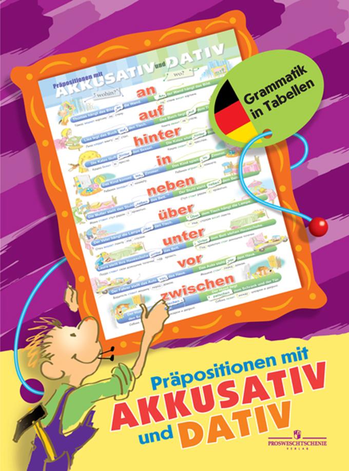 Немецкий язык. Предлоги с дательным и винительным падежами. Таблица настенная складная